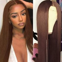 Synthetic Wigs 180% Density Preplucked Chestnut Brown Transparent Lace Front Wig With Baby Hair For Women Silky Straight 26 Inch Long Gluele