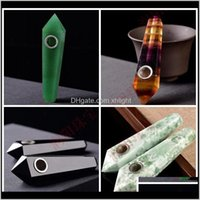 Aessories Household Sundries Home & Garden Drop Delivery 2021 Natural Crystal Pipe Clear Quartz Smoking Pipes Healing Stones Tobao Handmade H