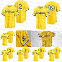 Custom 2021 Boston City Baseball Jerseys 2 Xander Bogaerts 99 Alex Verdugo 11 Rafael Devers 28 J.D. Martinez