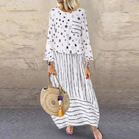 Women Vintage Long Dresses Spring Print Polka Dots Striped Fake Mujer Vestido Two-piece O-neck Maxi Female Dress #t3g Casual