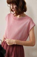 Women's T-Shirt Ice Silk Viscose Blend Knit Women Spring Summer Fashion Tshirts Sleeveless Low Oneck Tees S 34-3XL 44