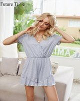 Women's Jumpsuits & Rompers Future Time 2021 Summer Home Women Short Sleeve V-neck Loose Ear Edge Fashion Casual One-piece Pants Jumpsuit SP