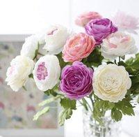 Großhandel Schöne künstliche Frühlings-Pfingstrosen Seidenblumen Anordnung für Wohnküche Esszimmer Tisch Möbel Dekoration OWD6101