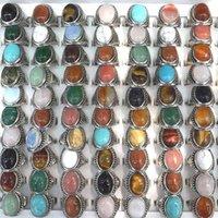 50 stks / partij vintage medium natuursteen ringen rozenkwarts, goud zandsteen, groene jade, opaal gemengde maat K722