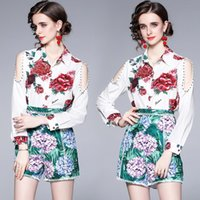 Women's Tracksuits Drop Summer Runway 2 Piece Womens Ladies Sets Vintage Print Collar Long Sleeve Top Shirt Blouse Shorts Tracksuit Outfits
