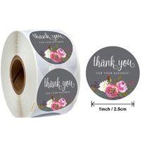 1 pouce merci Floral Yous Stickers Merci pour votre entreprise Paper Sceau d'étiquette Sticker Sticker Fabriqué Crêche Enveloppe Invitation Carte d'invitation