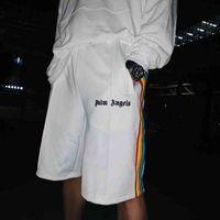 Doğru pantolon şort versiyonu gündelik avuç içi gökkuşağı erkek yüksek sokak gevşek düz capris pjai