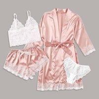 Silk Surface Pajamas 4 Piece Women Sleepwear Sexy Garter Lingerie Set Robes Lace Bodysuit Underwear Deep V Neck Pajama