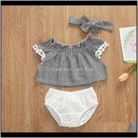 Clothing Baby, Kids & Maternity Born Infant Baby Girls Boys Clothes Sets 3Pcs Plaid Print Ruffles Sleeve T Shirts Tops+Shorts+Headband Drop