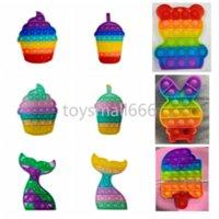 Arco iris oso helado conejo cartoon fidget empuje burbuja juguete 8 estilos estrés reliever sensory silicone juguetes niños adultos