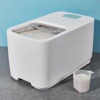 Storage Bottles & Jars 5kg 10kg Rice Container Cereal Dispenser Slide Cover Plastic Sealed Food Box Kitchen Organizer