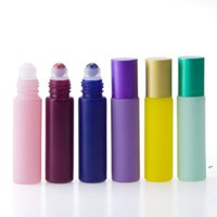 10ML Natural Crystal Jade Rollerball Bottle Essential Oil Perfume Bottles Frosted Roll On Bottle Colorful Macaron Glass Bottle DWA3909