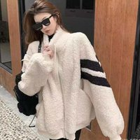 Jacket Woman Outerwear Autumn Kawaii Teddy Bear White Fur Oversize Hoodies Harajuku Bomber Faux Lambs Coat Fleece Streetwear Women's Jackets