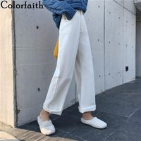 Women's Jeans Colorfaith 2021 Women Summer High Waist Casual Trousers Straight Denim Streetwear Wide Leg Ankle-Length Pants J3838