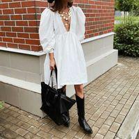 2021 Spring Summer Women's New Puff Sleeve Dress Deep V Neck Long Sleeve Loose Sexy Mini Black White Elegant Fashion Clothes G1011