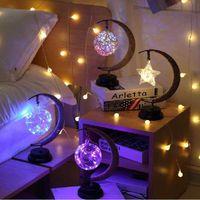 Estrelas LED / Lua / Apple / Sepak Takraw / Night Light Christmas Presente Handmade Cânhamo Cordilheira De Ferro Table Lamp Festa Decoração