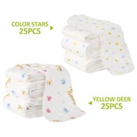 Cloth Diapers 25Pcs Reusable Infant Nappy Inserts Washable Soft Peanut Shaped 3-Layer Baby Breath Diaper