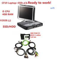 MB Star C5 SD Connect con il nuovo V2020.12 SSD o HDD Set completo in Toughbook CF19 I5 4G Laptop Pronto per l'uso per MB Cars Trucks Spedizione veloce