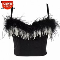Gilet Black Plume couture Perle Tassel Sling Femmes Corset Camis Partie Tube Sexy Tube Top Note Slim Cropped Tops Bustier Femme # ZP2Z