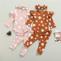Clothing Sets 0-18m Baby Girls 3pcs Outfit Floral Ruffled Long Sleeve Romper Elastic Waist Pants Headband For Spring Fall Set