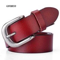 Gfohuo Neue Designer Mode Damen Gürtel Echtes Leder Marke Riemen Weibliche Taille Pin Schnallen Fancy Vintage Für Jeans Q0624