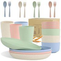 Set di stoviglie di paglia di frumento (20pcs) leggero - set infrangibile in modo infrangibile eco-friendly-rdeusable piatti, tazze, ciotole, posate - marittenti DHD8241