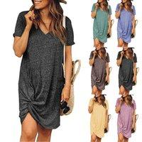 2021 Summer Women's V-neck Short Sleeve Side Knotted Dress Irregular Skirt Plus Size S-3XL