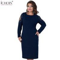 Повседневные платья холодные плечо 5xL 6xL большого размера зимнее платье женщины большая бандажная партия элегантный рабочий офис плюс одежда