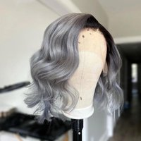 Synthetic Wigs Blunt Cut Short Bob Ombre Ash Gray Color Body Wave Lace Front Closure Wig With Baby Hair Daily Wear