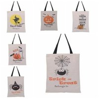 Stock Halloween Gift Bags Large Cotton Canvas Hand Bags 6 styles Pumpkin Devil Spider Printed Halloween Candy Gift Sack Bags