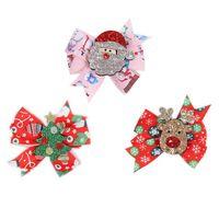 Christmas Girls Hair Accessories Hairclips Kids Barrettes Baby BB Clip Headdress Printed Bow Cute Accessory Bowknot B8510