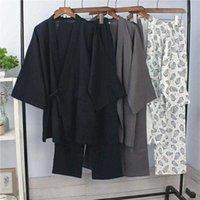 Algodão Japonês Sleepwear Fori Homens Quimono Haori Pijamas Camisola Tops de Verão + Calças Conjunto de Roupas Respirável Yukata Jinbei 211019