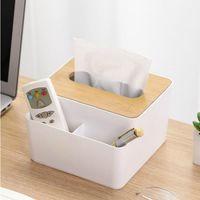 صناديق الأنسجة المناديل غطاء الخشب البلاستيك مربع حامل المطبخ تخزين مكتب المنزل المنظم الجدول