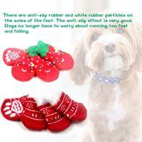 Dog Apparel 4 PCS Christmas Warm Cat Pet Socks With Non-slip Bottom Shoes Supplies
