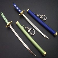 7 스타일 Roronoa Zoro Sword Keychain 여성 남성 버클 툴 홀더 Scabbard Katana Saber 자동차 키 링 선물 키 체인 Q-053 Y0414