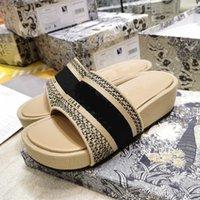 여름 뮬 웨지 뒤꿈치 샌들 블루 비스듬한 수 놓은 면화 플랫폼 장비 자카드 진짜 가죽 럭셔리 여성 신발 크기 35-40