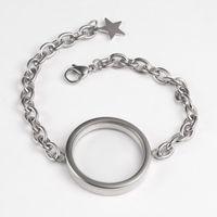 Twist Locket 30mm Screw Top Silver Rose Gold 316L Stainless Steel Floating Glass Living Memory Bracelet Link, Chain