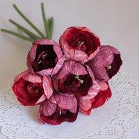Flores decorativas guirnaldas simulación 7 cabezas tulipán de látex seda de tallo para novia de boda sosteniendo ramo de ramo de jardín decoración de jardín tulipanes manojo
