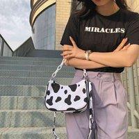Luxury Design Women Crossbodys Bags Tote Bag Cute Cow Pattern Summer Underarm Bag Nylon Handbag Small Shoulder Bag Female Purses C0406