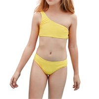 # l12 어깨 비키니 소녀 휴일 귀여운 솔리드 세트 두 조각 수영복 수영복 2021 여름 키즈 수영복 1 조각