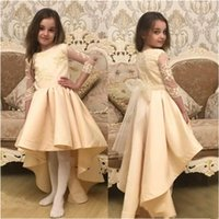 High Low Flower Girl Dresses For Wedding Gowns 3 4 Long Sleeves Lace Applique Scoop Neck Kids Formal Wear Custom Made