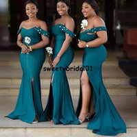 Off Shoulder African Bridesmaid Dresses Mermaid Satin Beads Crystal Maid Of Honor Gowns Sweetheart Wedding Guest Dress