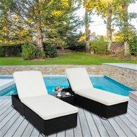 2 x lit plat coussin amovible Coussins de jardin Ensembles de jardin noir de bronzage à quatre fils relaxant par ombre de la piscine