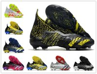 Mens High Ankle Soccer Shoes Women PREDATOR FREAK + FG Firm Ground Cleats Laceless Trainers POGBA 21 Outdoor Football boots Si