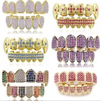 18K Real Gold Punk Hiphop Multicolor CZ Zircon Vampire Teeth Fang Grillz Diamond Grills Braces Tooth Cap Rapper Jewelry for Cosplay 647 K2