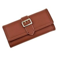 Wallets Fashion Solid Buckle Nubuck PU Leather Zipper Long Women Wallet Phone Bag Design Purse Card Holder Clutch