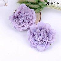 Dekoratif Çiçekler Çelenk 20 adet / takım Ipek Bez Yapay Şakayık Çiçek Kafaları Buket Düğün Ev Dekorasyonu Zanaat DIY Faux