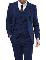 Men's Suits & Blazers 2021 Royal Blue 3 Pieces Suit Formal Business Notch Lapel Herringbone Tuxedos Groomsmen For Wedding(Blazer+vest+pants)