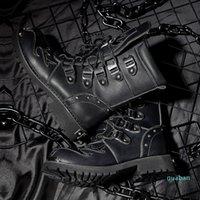 Punk Rock Men Boots Black Leather Ankle Shoes Lace Up Metal Decoration Personality Mens Shoes 8874