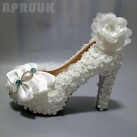 Dress Shoes Lace Pumps Woman Handmade Luxury Plus Size 34-42 Butterfly-knot Flower Pearls Bridal Wedding
